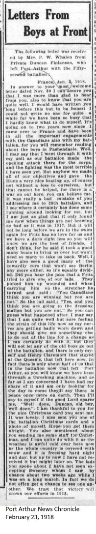 PANC February 23, 1918 - Finlanson